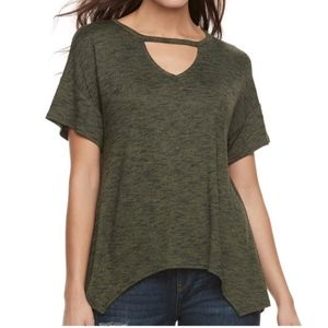 JUICY COUTURE Top Olive Green Shark-Bite Cut-Out S